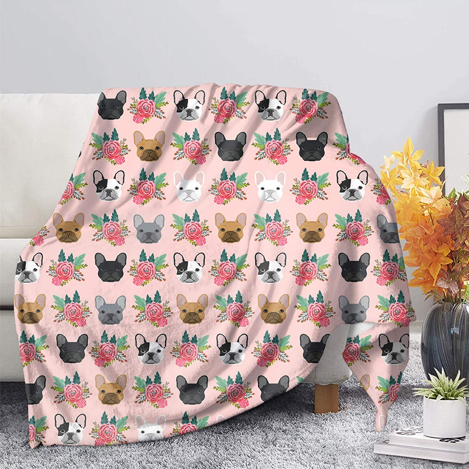 COEQINE Flannel Throw 5 ☆ popular Blanket for Bed Max 77% OFF Floral Patte Bulldog Couch
