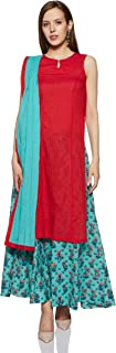 BIBA Women's Synthetic Achkan Salwar Suit Set