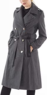 Womens Trench Coat Wool Double Breast Jacket Gold Buttons with Belt