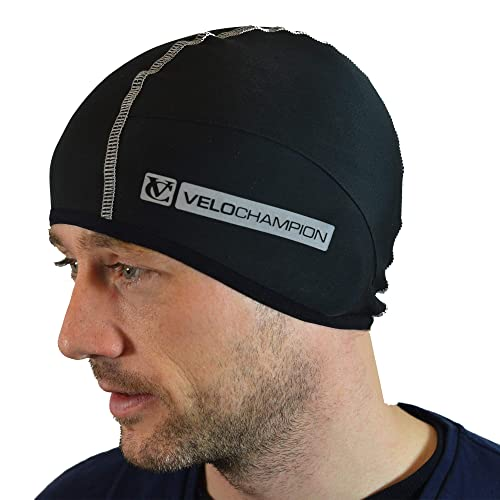 d6ccd403085 VeloChampion Thermo Tech Cycling Skull Cap – Windproof Thermal Under Helmet  Hat – Stretchable Tight