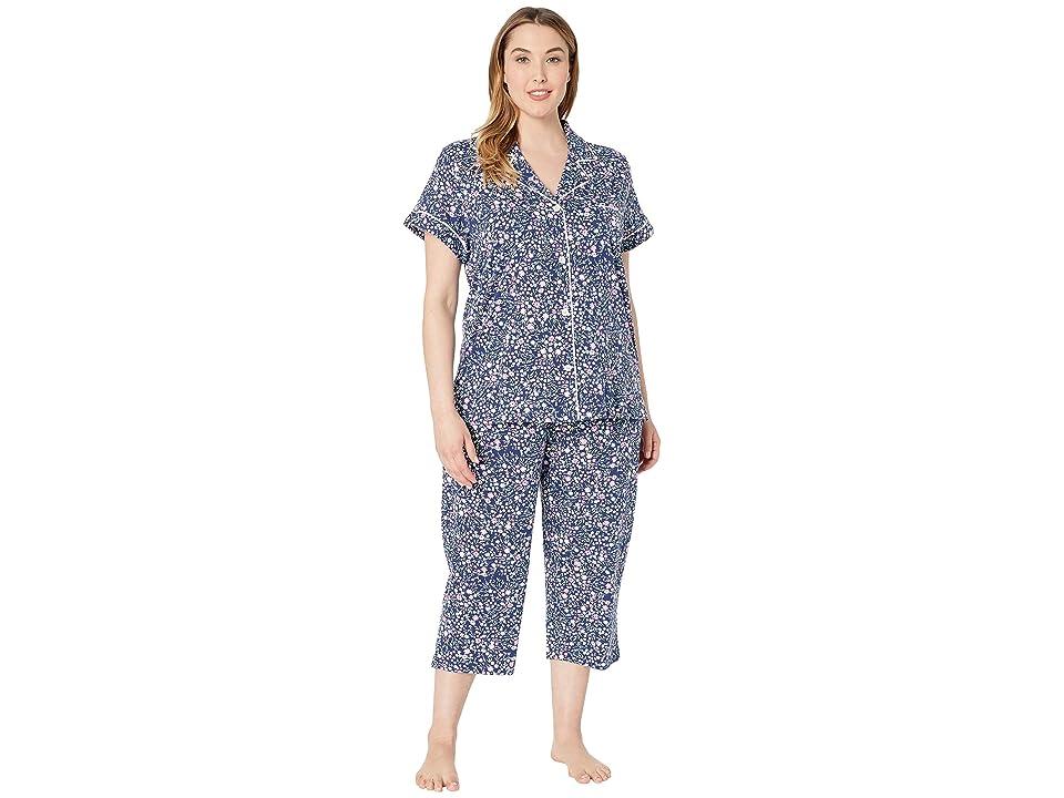 LAUREN Ralph Lauren Plus Size Short Sleeve Notch Collar Capris Pajama Set (Navy Floral Print) Women