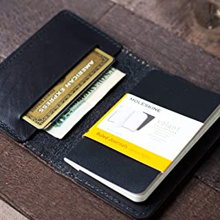 """Coal Creek Leather Cover for Moleskine Volant Soft Cover X-Small 2.5x4.25"""" / Wickett & Craig Full Grain Leather/Pocket Notebook Wallet/Personalized"""