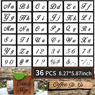 Yizeda 36 PCs Letter Stencils for Painting on Wood,Alphabet Stencils with Calligraphy Font Upper and Lowercase Letters,Reusable Plastic Art Craft Stencils with Numbers and Signs 8.27