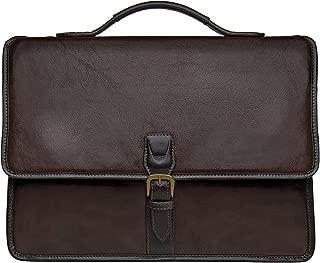 HIDESIGN Harrison Buffalo Leather Laptop Briefcase, Brown