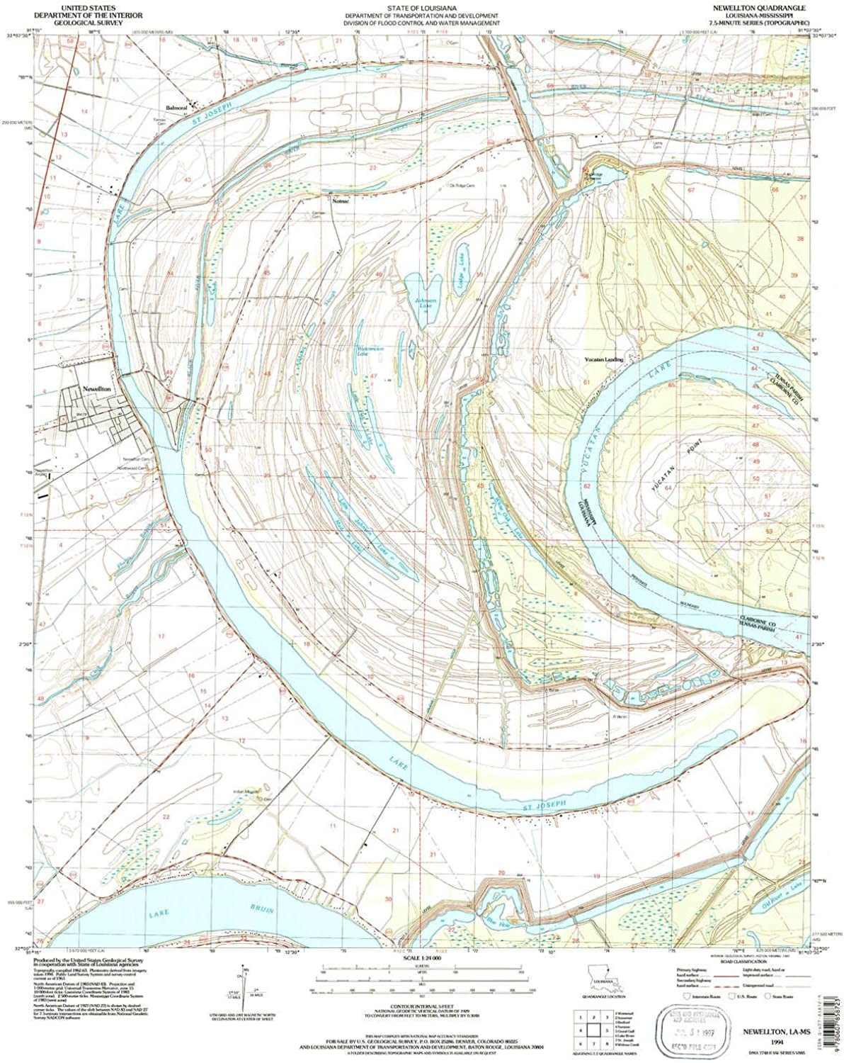 Newellton LA topo map, 1 24000 Scale, 7.5 X 7.5 Minute, Historical, 1994, Updated 1997, 26.8 x 21.6 in