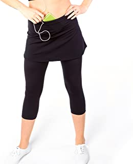 Sport-it Womens Capri Skirt, Active Skapri with Pockets, Running Skirted Leggings, Athletic Skort