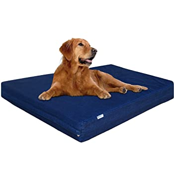 Dogbed4less Premium Memory Foam Dog Bed, Pressure-Relief Orthopedic | Waterproof Case, Washable Durable Denim Cover and Bonus 2nd External Cover, 7 Sizes, Blue