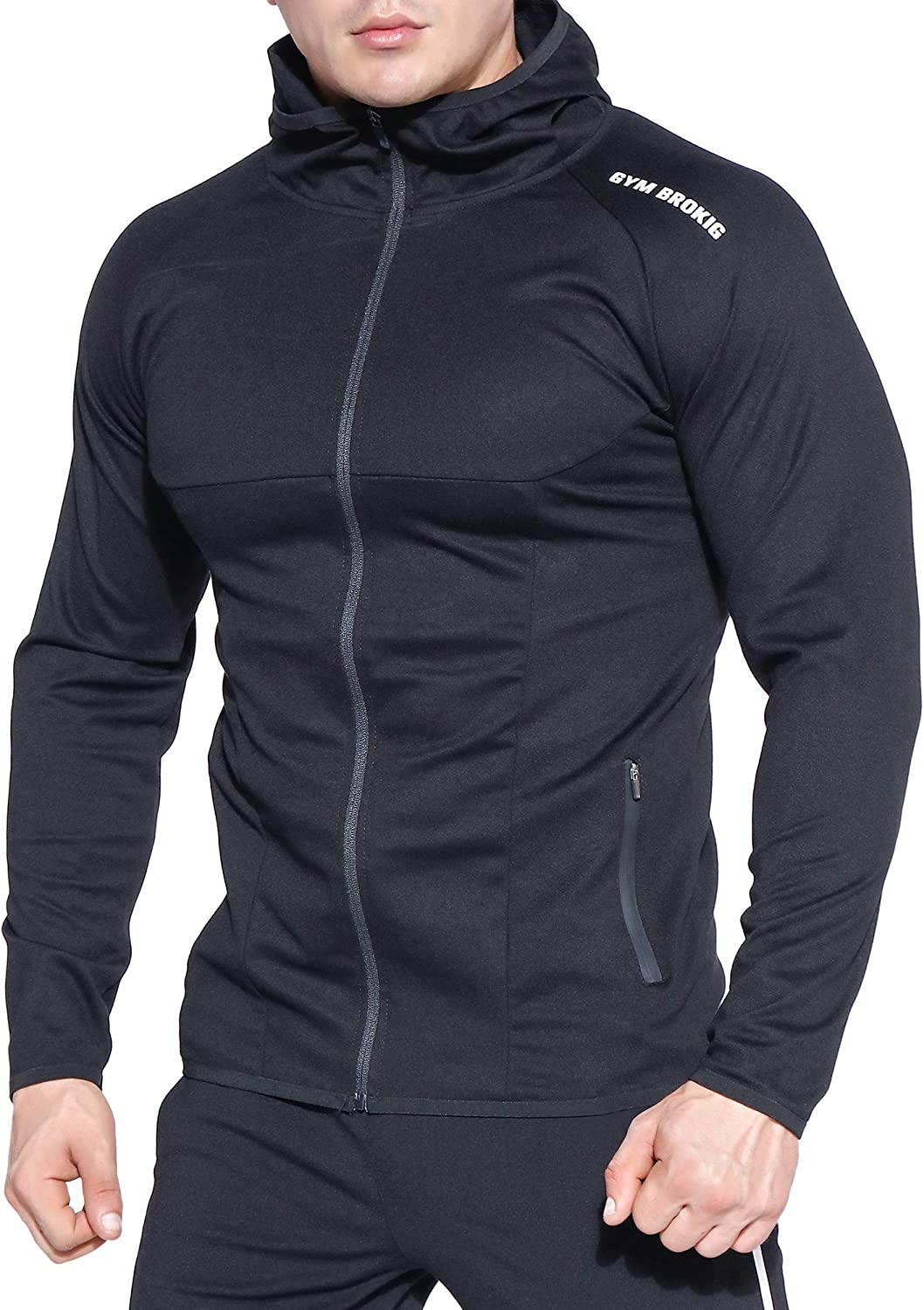 BROKIG Men's Gym Muscle Hoodie Full Zip Up Workout Running Sweatshirts Zipper Pockets