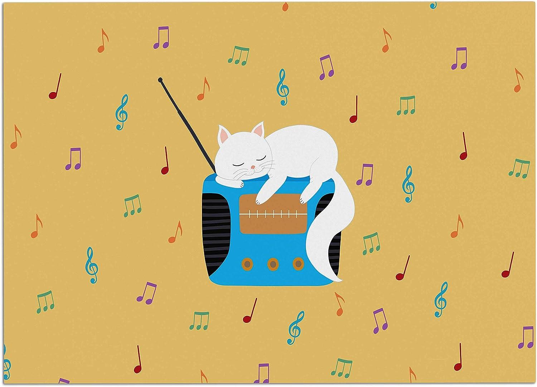 KESS InHouse Cristina Bianco Design Fox  New Friends  Pattern Illustration Dog Place Mat, 24 x15