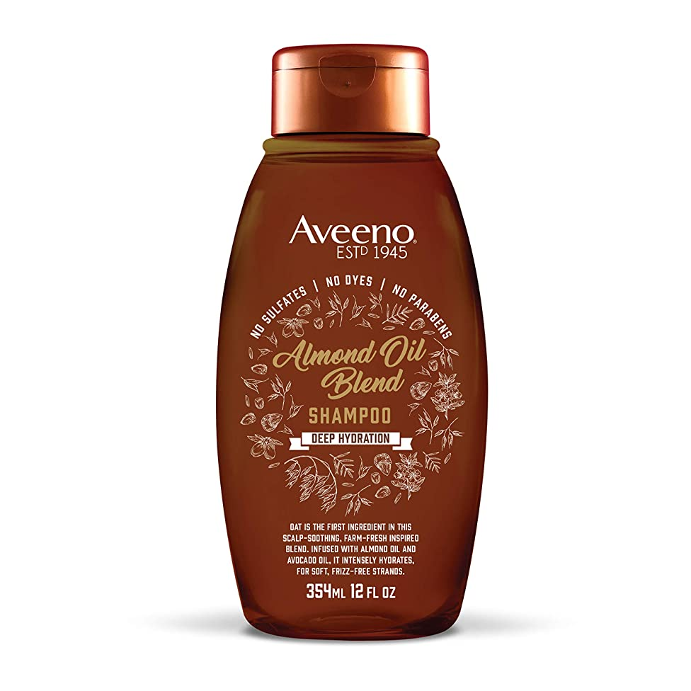 Aveeno Scalp Soothing Almond Oil Blend Shampoo for Deep Hydration, Sulfate Free Shampoo, No Dyes or Parabens, 12 fl. oz