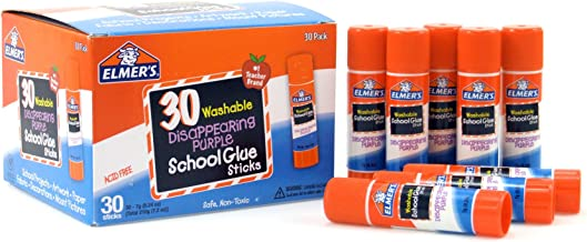 Elmer's Disappearing Purple School Glue, Washable, 30 Pack, 0.24-ounce sticks