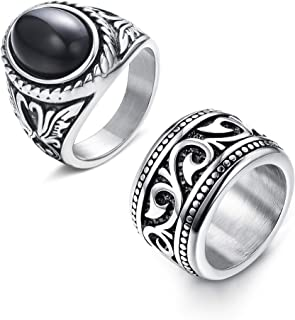 FUNRUN JEWELRY Stainless Steel Rings for Men Vintage Biker Band Rings Set Wide Signet Ring Size 7-13