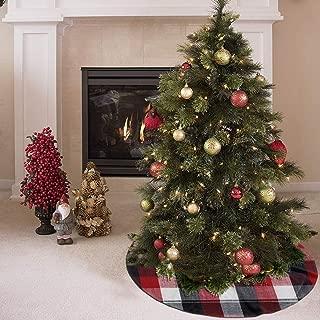 AHOOCUSTOM Merry Christmas Tree Skirt Fabric Into Grid, Buffalo Plaid Design Xmas Party Supplies Large Tree Mat Decoration Ornament 48 Inch