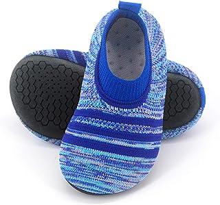 Zapatillas de casa para niños pequeños con Suela de Goma Zapatillas de casa Ligeras de Punto Antideslizantes para niños niñas