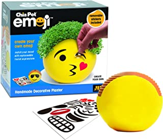 Chia Pet Emoji with Seed Pack, Decorative Pottery Planter, Easy to Do and Fun to Grow, Novelty Gift, Perfect for Any Occasion
