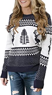 IRISGOD Womens Ugly Christmas Sweater Xmas Reindeer Long Sleeves Knit Pullover Tops
