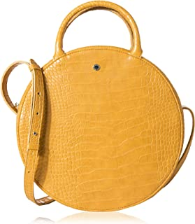 Canteen Purse Circle Crossbody Bag for Women Big Crocodile Round Handbag by The Lovely Tote Co.