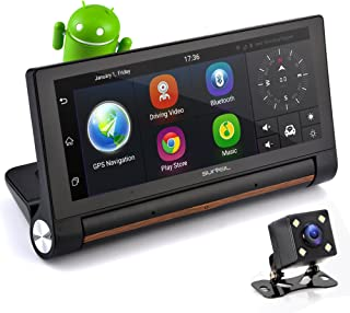 "GPS Touchscreen Android DVR Dashcam - 7"" Display, Navigation Dual Built-in Adjustable Front and Rear Camera - Wi-Fi Bluetooth Wireless FM Radio and Rechargeable Battery - Pyle PLDVRCAMAND75"