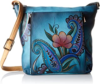 Genuine Leather Travel Organizer | Hand-Painted Original Artwork | Denim Paisley Floral