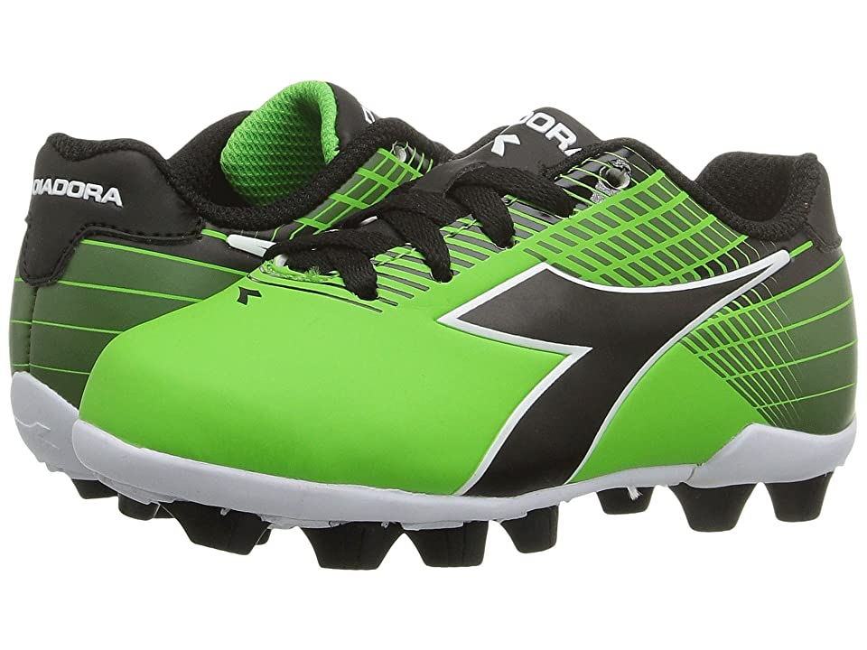 Diadora Kids Ladro MD JR Soccer (Toddler/Little Kid/Big Kid) (Lime/Black) Kids Shoes