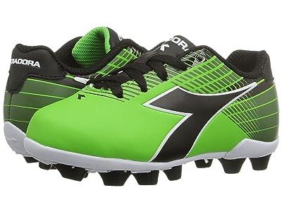 Diadora Kids Ladro MD JR Soccer (Toddler/Little Kid/Big Kid) (Lime/Black) Kids Shoes