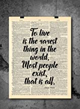 To Live Is The Rarest Thing - Oscar Wilde - Inspirational Wall Art - Vintage Art - Authentic Upcycled Dictionary Art Print - Home or Office Decor - Inspirational And Motivational Quote Art