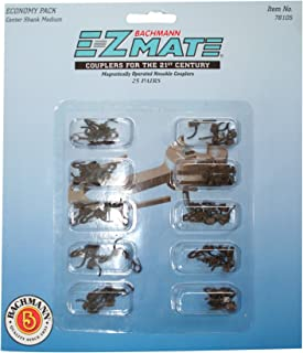 Bachmann Trains E-Z Mate Magnetic Knuckle Couplers - Economy Pack - Center Shank - Medium (25 Coupler Pairs per Card) - HO...
