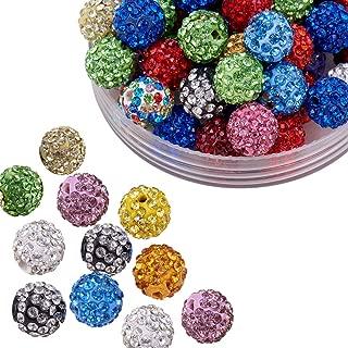 Pandahall 100 Pcs 10mm Mixed Color Shamballa Pave Disco Ball Clay Beads, Polymer Clay Rhinestone Beads Round Charms Jewelry Makings