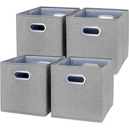 TYEERS Lot de 4 Boîte de Rangement Lavable Pliable Cube de Rangement en Tissu Ouvert avec Poignée pour Armoire Bibliothèque Etagères Placard Bureau Livres Vêtement Jouets Lego CD Peluche Etc - Gris