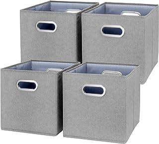 TYEERS Lot de 4 Boîte de Rangement Lavable Pliable Cube de Rangement en Tissu Ouvert avec Poignée pour Armoire Bibliothèqu...