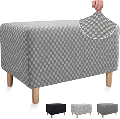 Chelzen Stretch Ottoman Slipcover Double-Color Linen-Like Square Rectangle Storage Ottoman Cover for Living Room Foot Rest Stool Slip Cover with Elastic Bottom (X-Large, Light Gray Checkered)