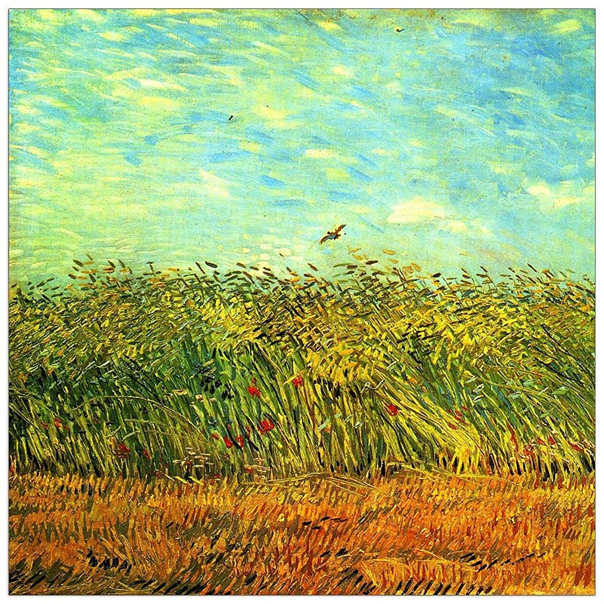 ArtPlaza TW91002 Van Gogh Vincent - Wheat Field with a Lark Decorative Panel 31.5x31.5 Inch Multicolored