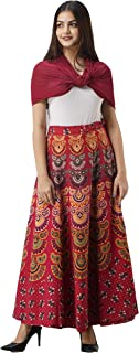 UrbanEra Women's Full Length Floral Print Cotton A-Line Wrap Around Skirt - (Free Size, Red, Length - 38 in, Drawstring)