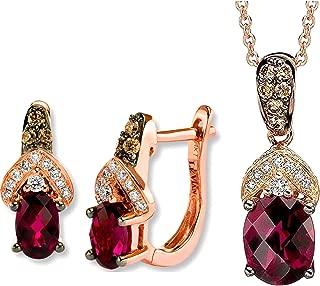 Rhodolite Garnet Chocolate Diamonds Earrings Pendant/Necklace Set 14K Rose Gold