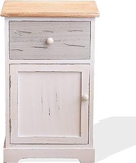 Rebecca Mobili Mesita de Noche Blanca para Dormitorio Mueble Auxiliar baño 1 cajón 1 Puerta Gris Blanco Estilo Shabby...