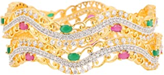 Women's American Diamond CZ Colourful Stone Fashion Jewellery Bangle Set (2 Pieces)