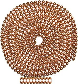 10 Foot Length Ball Chain, Number 10 Size, Copper, 10 Matching B Couplings