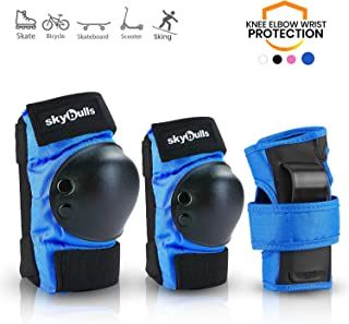 skybulls Kids Toddler Knee Elbow Pads, Professional Skateboard Pads Protective Gear Set [Knee Pads + Elbow Pads + Wrist Guards] for Skateboarding, BMX Bike, Scooter, Inline Skating, Rollerblading