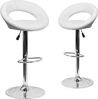 Flash Furniture 2 Pk. Contemporary White Vinyl Rounded Orbit-Style Back Adjustable Height Barstool with Chrome Base