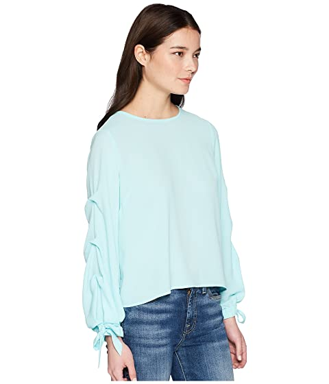 Vince Camuto Specialty Size Petite Long Sleeve Tiered Tie Cuff Textured Blouse Aqua Glow Purchase Your Favorite HK1ybbX3h