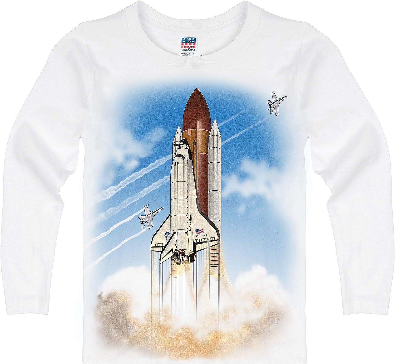 Shirts That Go Little Boys' Long Sleeve Space Shuttle T-Shirt