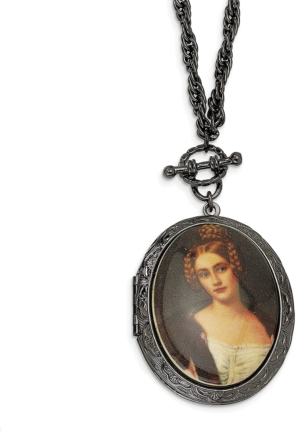 1928 Jewelry Black-Plated Woman Decal Locket 30 Necklace