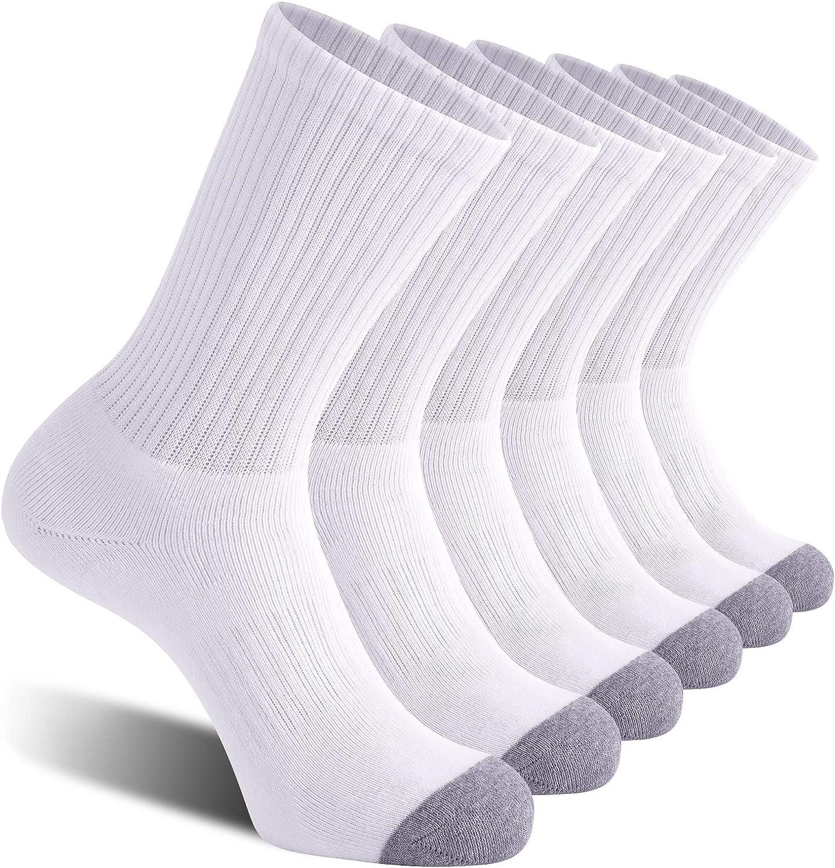 CelerSport 6 Pack Men's Athletic Crew Socks, Work Boot Socks with Full Cushion at  Men's Clothing store