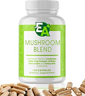 6 Mushroom Powder Blend Supplement - 1000mg Capsules with Cordyceps, Lions Mane, Reishi, Turkey Tail, Shiitake, and King Trumpet - Support Your Overall Health and Immune System (120 Count)
