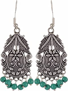 Indian Vintage Retro Ethnic Gypsy Oxidized Boho Dangle Drop Hook Earrings for Girls and Women Love Gift