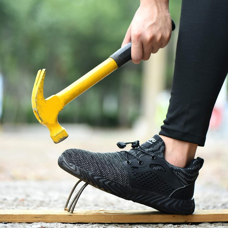 Scarpe Antinfortunistiche Uomo Donna Scarpe da Lavoro con Punta in Acciaio Scarpe da Cantiere Leggere Traspiranti Sneaker Sportive di Sicurezza Nero Blu Grigio Verde Rosa 36-48 EU