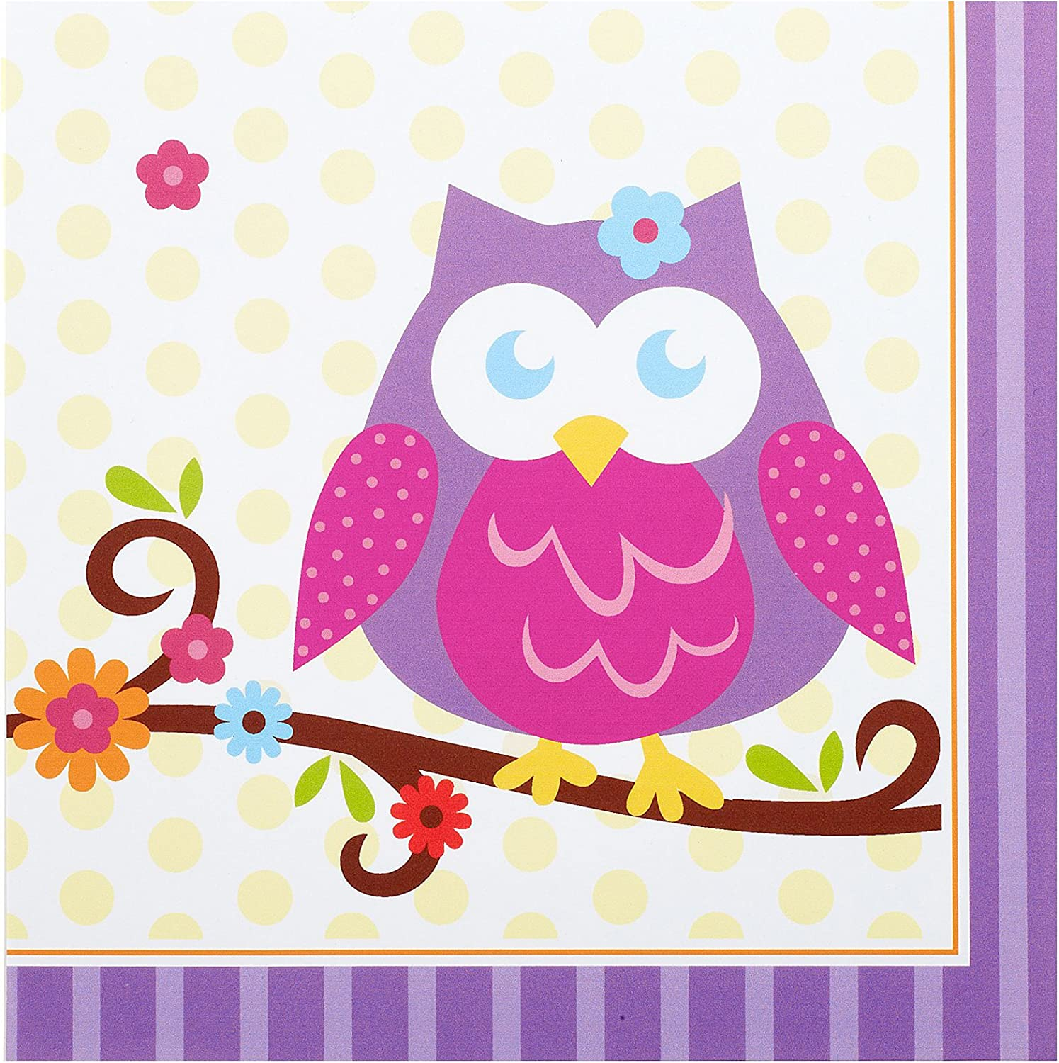 BirthdayExpress Owl Blossom Party Supplies - Lunch Napkins (16)