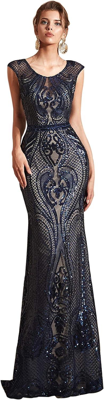 Datangep Women's Sequins Mermaid Dresses Sleeveless Evening Dress Long Party Prom Gown