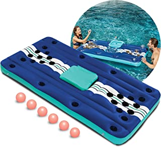 Wembley Inflatable 7 Piece Pool Beer Pong Set Raft Float with Drinks Cooler for Summer Parties, Outdoor Play, Beach, Camping, Road Trips, Vacation, and More