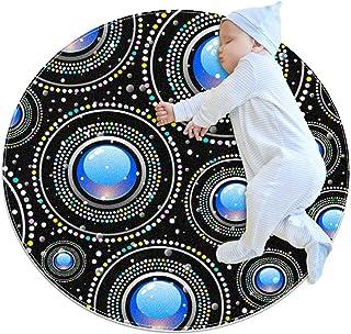 Svart mönster, rund matta för barn polyester filt matta mjuk pedagogisk tvättbar matta barnkammare tipi tält lekmatta